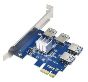 Расширитель / Удлинитель ACS-A204 PCIe 1X to 4-Port PCIe 16X Multiplier Card for Bitcoin Miner