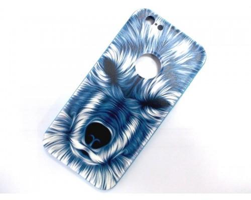 Задняя накладка iPhone 6 3D синий волк