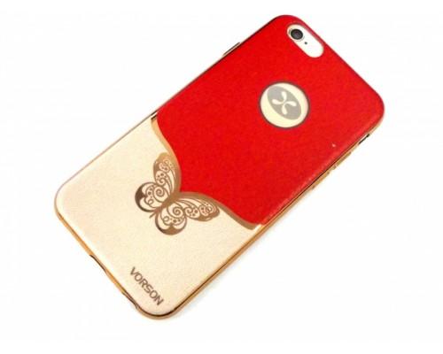 Задняя накладка iPhone 6 Vorson с бабочкой под кожу красный