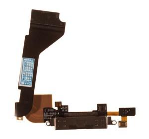 Шлейф с разъёмом зарядки и микрофоном для iPhone 4 (черный)