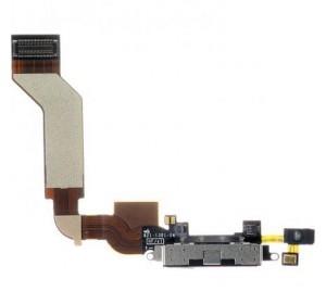 Шлейф с разъёмом зарядки и микрофоном для iPhone 4s (черный)