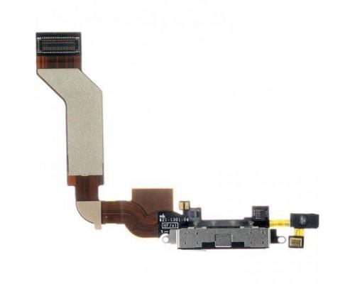 Шлейф с разъёмом зарядки и микрофоном для iPhone 4s (белый)