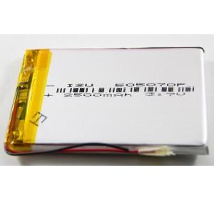 АКБ универсальная 505070p 3,7v Li-Pol 2500 mAh (5*50*70 mm)