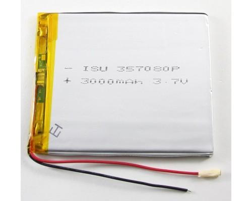 АКБ универсальная 357080p 3,7v Li-Pol 3000 mAh (3.5*70*80 mm)